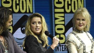 Jason Momoa, Amber Heard and Nicole Kidman at the Aquaman panel at Comic-Con.