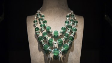 The Maharani Emerald Necklace, which combines emerald beads with diamonds, at a Nirav Modi boutique in Hong Kong in March 2017.