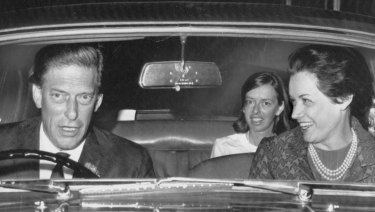 Lord Harewood and Patricia Tuckwell (right) drive from London airport after arrival from US where they were married in New Canaan, Connecticut  on August 3, 1967.