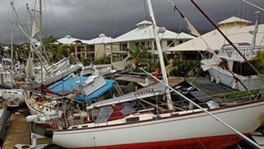 Boats lay strewn around Port Hinchinbrook in the wake of severe tropical Cyclone Yasi in February 2011.