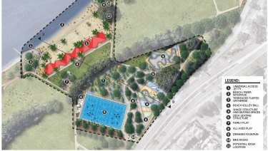 McCallum Park concept plan, showing the activity hub and beach.