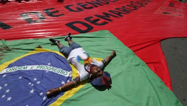 Several Indigenous tribes take residence outside Brazil's government buildings every April.