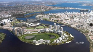 East Perth redevelopment precinct, showing some of the projects.