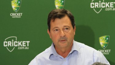 Cricket Australia chairman David Peever addresses the media about the ball tampering scandal at the National Cricket Centre in Brisbane on Friday.