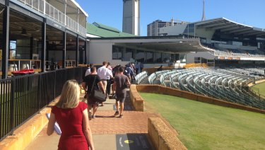 Journalists inside the WACA.