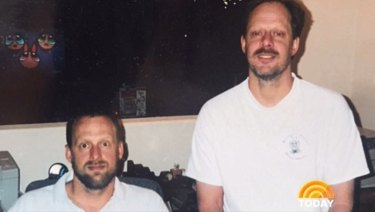 An undated photo of Las Vegas gunman Stephen Paddock, right, with his brother Eric.