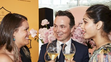 Mikaela Jade of Indesign, Thomas Bouleuc of Veuve Clicqucot and actress Freida Pinto at the Next Generation Awards.
