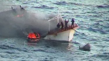 A Taiwanese-flagged fishing boat caught fire off Learmonth.