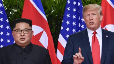 North Korea's Kim Jong-un with US President Donald Trump at the June summit in Singapore.