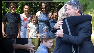 Aaron Cockman (right) is greeted by family and friends outside Bunbury Crematorium before the funerals of his ex-wifeKatrinaMilesand their four children, daughter Taye 13, and sons Rylan 12, Arye 10, and Kayden 8, in Bunbury, south west of Perth, Wednesday, May 30, 2018. Inset: Katrina Miles and her children.