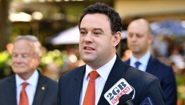 NSW Minister for Sport Stuart Ayres speaks to the media.