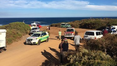 Ambulances arrive at Cobblestones surf break in WA's South West.