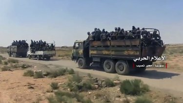 A convoy of Syrian military vehicles after its troops captured the Naseeb border crossing last week.