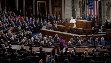 Pope Francis addresses a joint meeting of US Congress in 2015 on issues closest to his heart: income inequality, immigration and climate change.