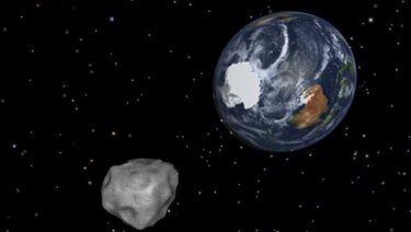 An asteroid nearing Earth - in an artist's rendering.