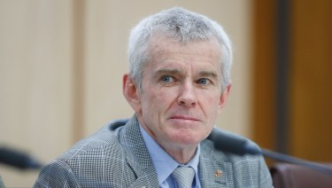 Malcolm Roberts during a Senate estimates hearing in October 2017, before he lost his spot in the citizenship saga.