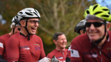 Tony Abbott in Warragul on Monday morning, on his 21st Pollie Pedal.