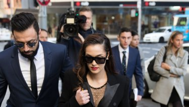 Fatima Mehajer and her husband arrive at the Downing Centre Local Court.