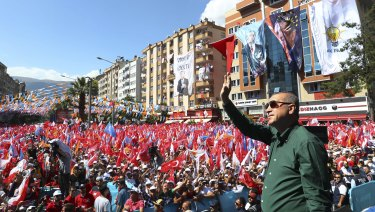 Turkey's President Recep Tayyip Erdogan addresses supporters of his ruling Justice and Development Party (AKP)  in Kahramanmaras, eastern Turkey.
