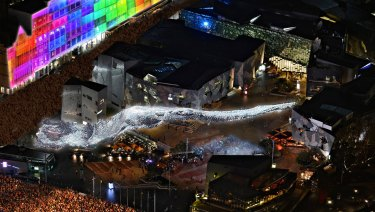 An artist's impression of what Liquid Sky will look like at Federation Square on White Night.