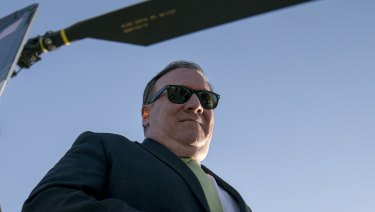 US Secretary of State Mike Pompeo arrives at Camp Alvarado in Kabul, Afghanistan after meeting with Afghan President Ashraf Ghani on July 9.