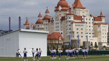 Russia's players take part during training.