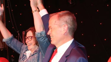 Ged Kearney and Bill Shorten claiming victory in Batman.
