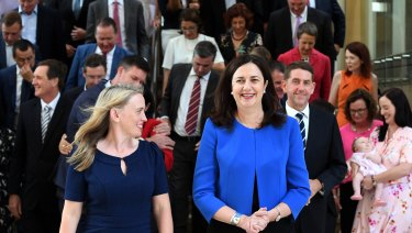 Commonwealth Games Minister and Premier Annastacia Palaszczuk with members of the Labor caucus on Monday.