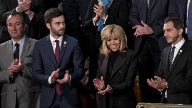 Brigitte Macron, France's first lady, arrives to watch the address to Congress.