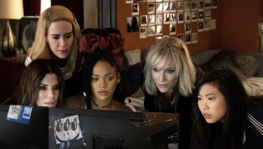 From left: Sandra Bullock, Sarah Paulson, Rihanna, Cate Blanchett and Awkwafina in Ocean's 8.