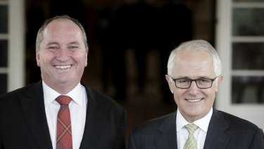 All smiles: Deputy Prime Minister Barnaby Joyce and Prime Minister Malcolm Turnbull.