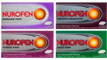 Nurofen products purported to be formulated to address specific causes of pain.