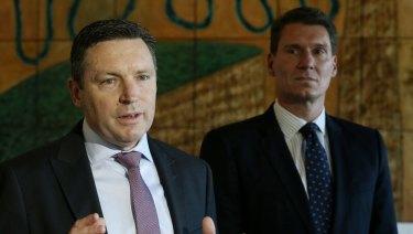 Lyle Shelton, who will step down as managing director of the Australian Christian Lobby, with Senator Cory Bernardi.