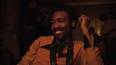Donald Glover as Lando Calrissian in a scene from Solo: A Star Wars Story.