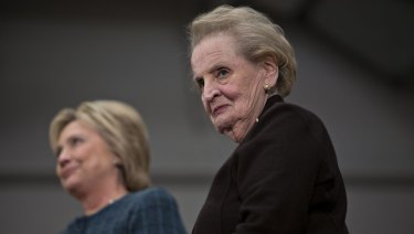 Madeleine Albright joins Hillary Clinton on the presidential campaign in 2016.
