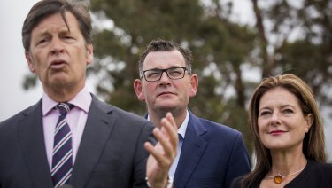 Premier Daniel Andrews and Roads Minister Luke Donnellan and MP for Carrum Sonya Kilkenny.