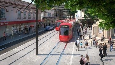 An artist's impression of the Parramatta Light Rail.