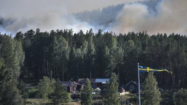 Smoke rises from just beyond a bank of trees and homes, as a wildfire threatens large tracts of land, outside Ljusdal, Sweden, on Tuesday.
