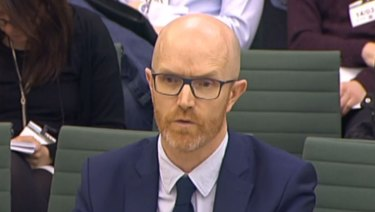 Simon Milner, Policy Director for the UK, Middle East and Africa for Facebook in front of the Home Affairs Select Committee in the House of Commons, London