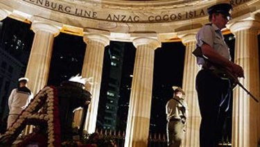 Dawn service at Anzac Square, in Brisbane's CBD.