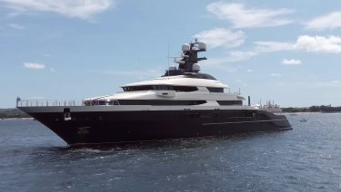 A luxury yacht named Equanimity is seen in the Benoa harbor in Bali.