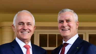 Prime Minister Malcolm Turnbull with newly installed Deputy Prime Minister Michael McCormack at Government House.