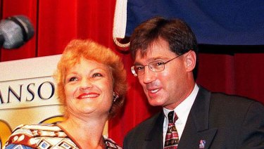 Pauline Hanson and David Oldfield at a One Nation function in 1999.