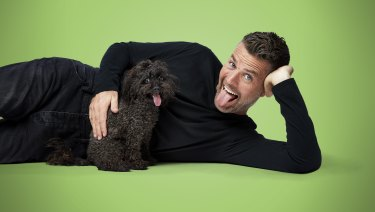 Pete Evans with his dog Shikoba promoting his new range of cat and dog food, called Healthy Everyday Pets with Pete Evans.