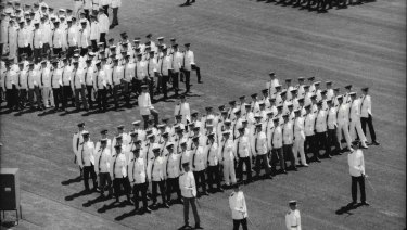 Cadets of the Australian Defence Force Academy in Canberra on Parade, 1986.