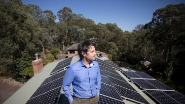 Not usually this large: Daniel Epstein installed a 17kW solar system on his house in Warrandyte, on Melbourne's northern edge.