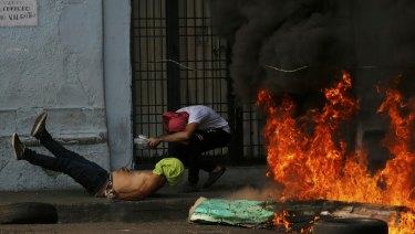 Fiery scenes near Venezuela's border with Colombia on Saturday.