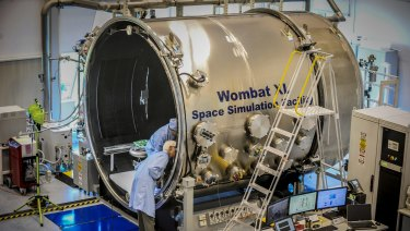 The space simulator at the Australian National University's Advanced Instrumentation Technology Centre at at Canberra's Mt Stromlo. Queensland hopes to replicate space industry growth in southern capitals.