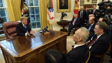 US President Donald Trump meets Chinese Vice Premier Liu He.