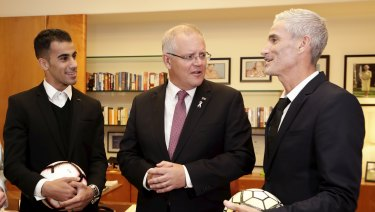 Prime Minister Scott Morrison meets Hakeem al-Araibi and Craig Foster in his office at Parliament House two days after his return.